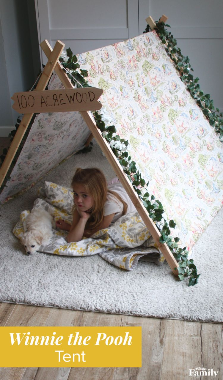 Give your kiddo a great place to play, create, and read in this Hundred Acre Wood-themed fort! An unBEARably cozy Winnie the Pooh Tent is a fun craft—whether indoors on a rainy summer day or outdoors for some camping in the backyard. While it does make for adorable kids bedroom decor, it's also easy to store—always a plus for parents! Click for the Winnie the Pooh DIY tutorial.