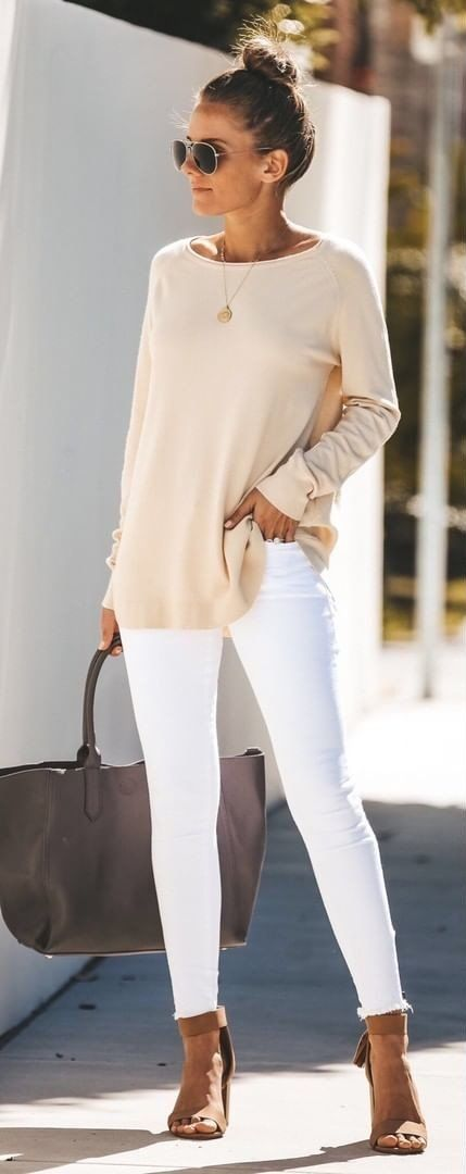 white long sleeve dress #spring #outfits