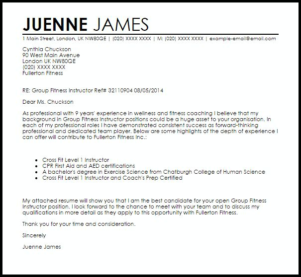 ... Fitness Consultant Cover Letter Cvresumeunicloudpl   Group Fitness  Instructor Cover Letter ...