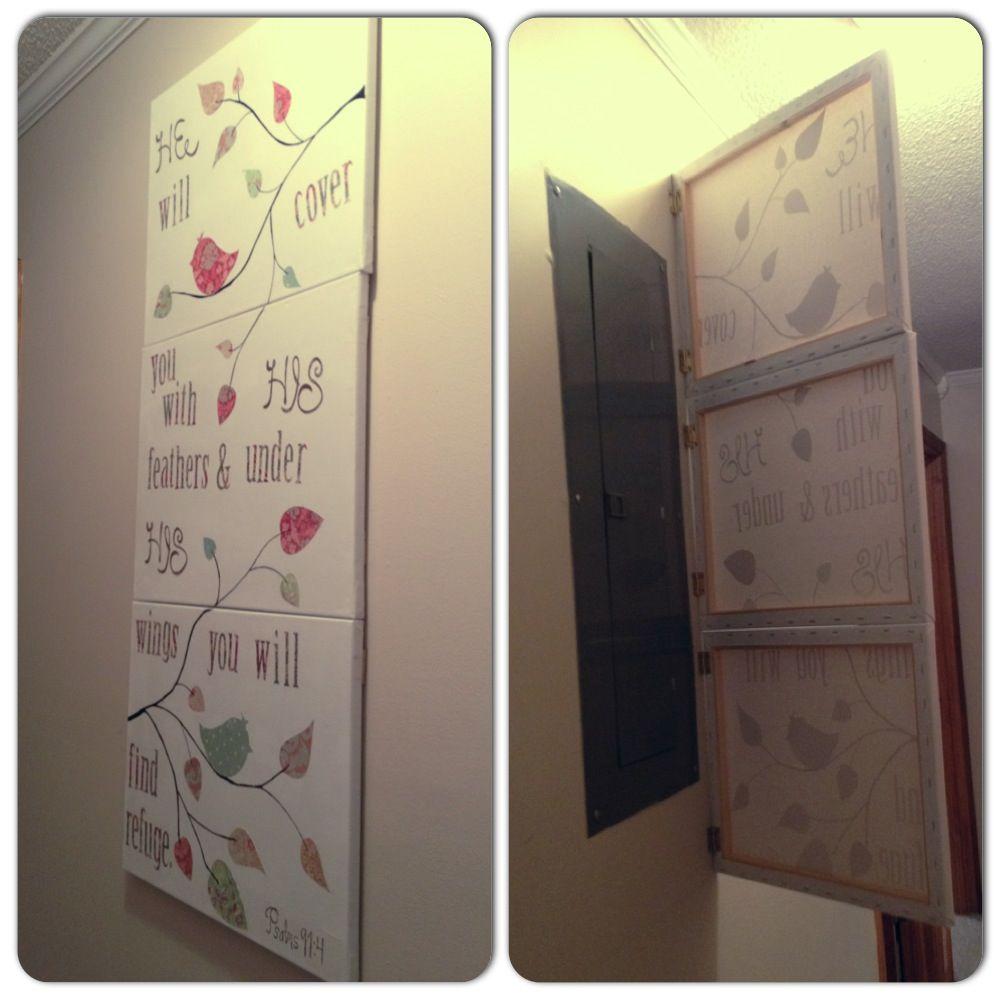 hiding electric panels design ideas pictures remodel. Black Bedroom Furniture Sets. Home Design Ideas
