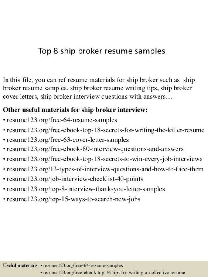 Freight Broker Sample Resume] Professional Commercial Real ...