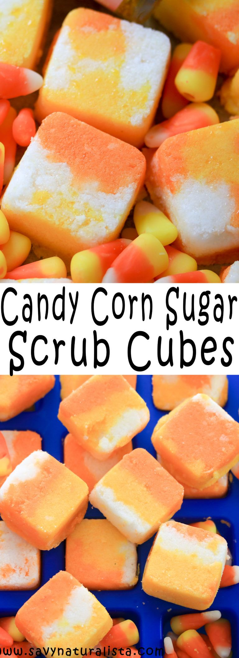 Tis the season to make festive recipes and these Candy Corn Body Scrub Cubes is what you want to try!