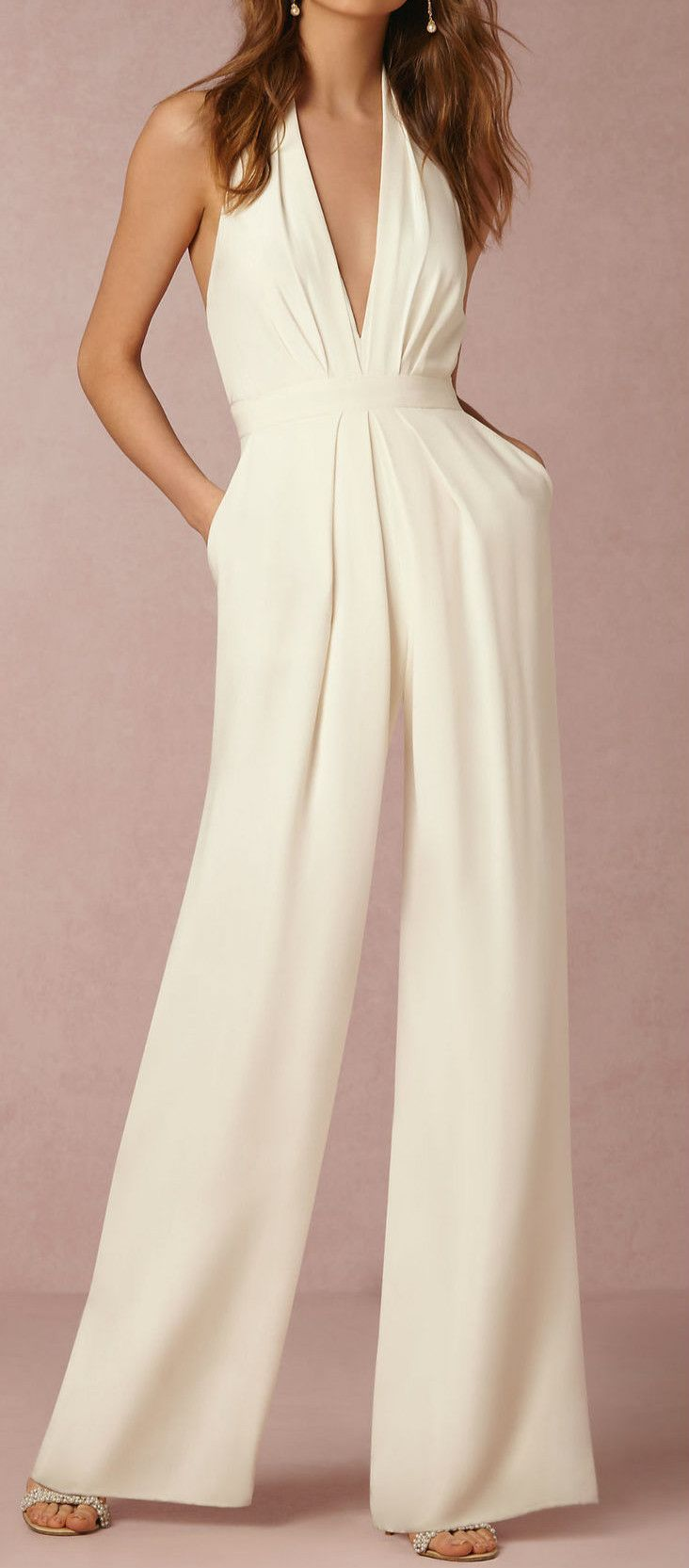 White Halter Sleeveless Jumpsuit