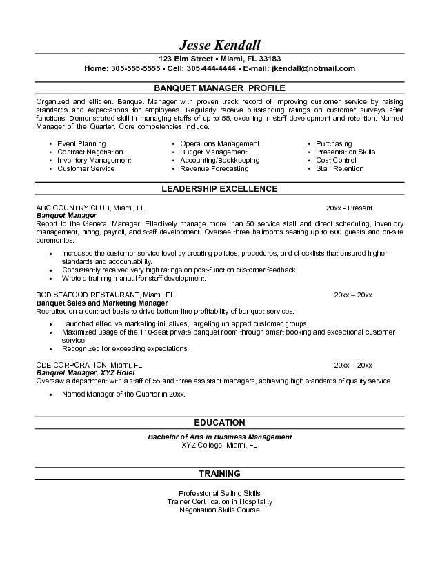 Amazing Sample Banquet Manager Resume Inside Banquet Manager Resume