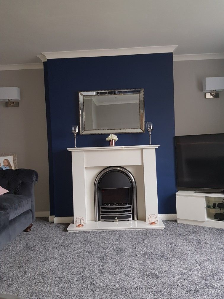 Dulux Sapphire Salute And Chic Shadow Navy And Grey Living Room Blue Living Room Decor Navy Living Room Decor Navy Living Rooms #navy #grey #living #room