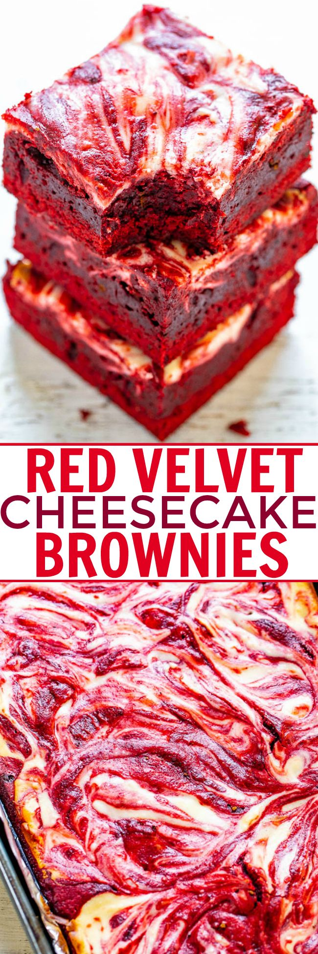Red Velvet Cheesecake Brownies – Rich, decadent, red velvet brownies topped with tangy cream cheese swirls!! PERFECT for Valentine's Day, the Christmas season, or anytime you're craving red velvet! EASIER than you think to make!!