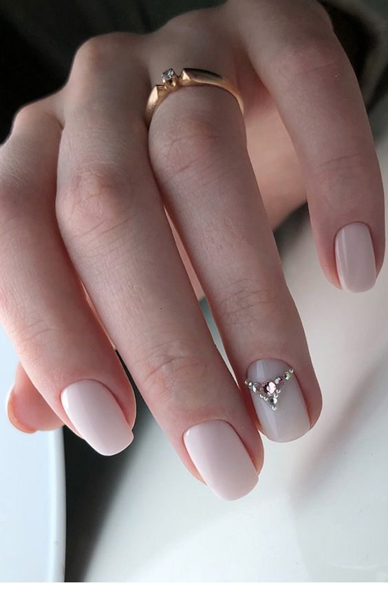Chic white nails with diamonds