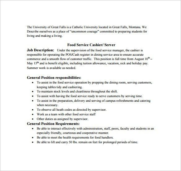 food server job description resume cv cover letter