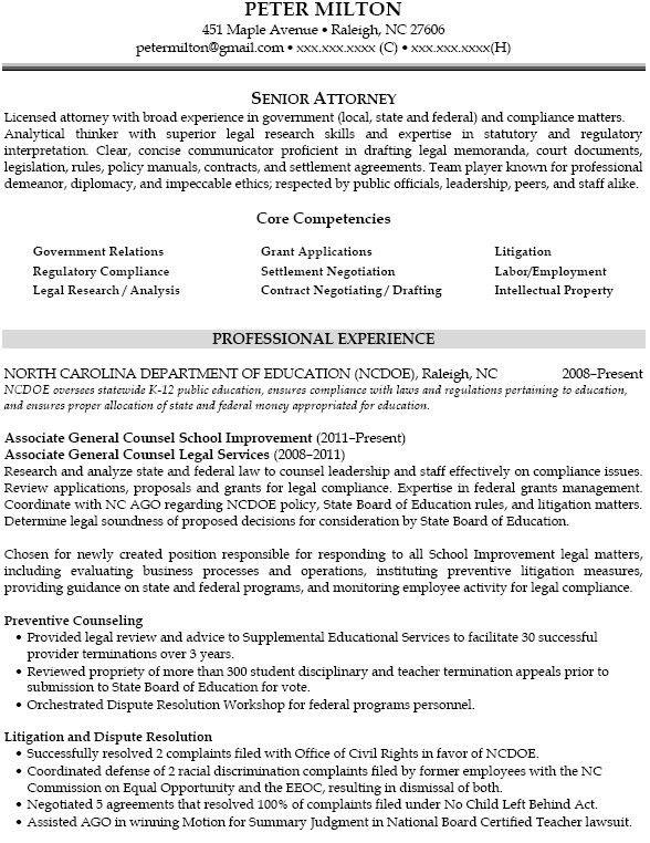 sample general counsel resume