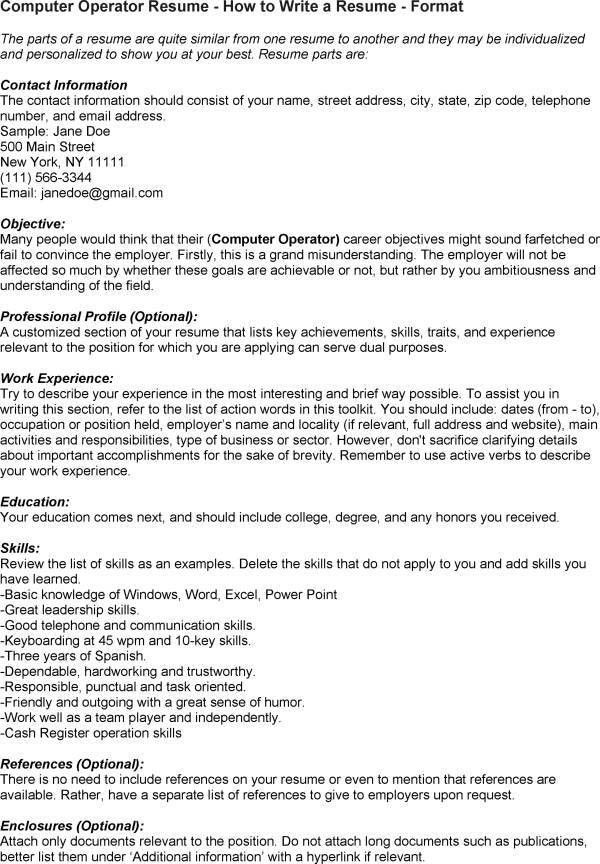 ... Cover Letter For Computer Operator Computer Operator Cover Letter    Sample Resume For Computer Operator ...  Computer Operator Resume