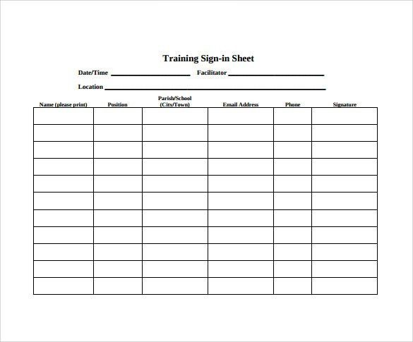 Training Sign In Sheet Example Word Sign In Sheet Sign Up Sheet
