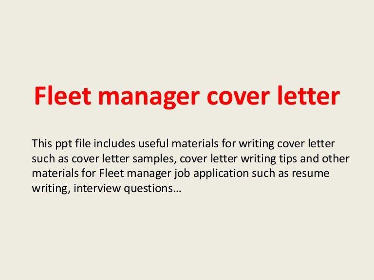 fleet manager cover letter - Raptor.redmini.co