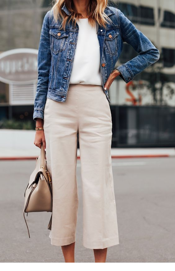 Cute look with pants, t-shirt and denim jacket