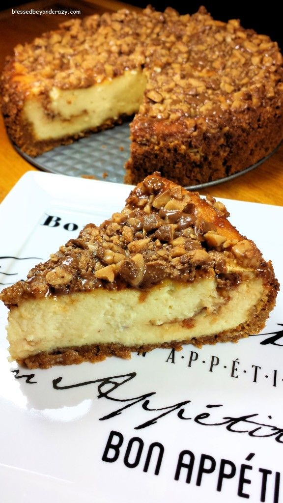 Heath Bits Cheesecake (GF Option) - this is one of the easiest cheesecake recipes ever and another family favorite. It freezes well so you can make it a few days before a party, then thaw it the day of. #blessedbeyondcrazy #cheesecake