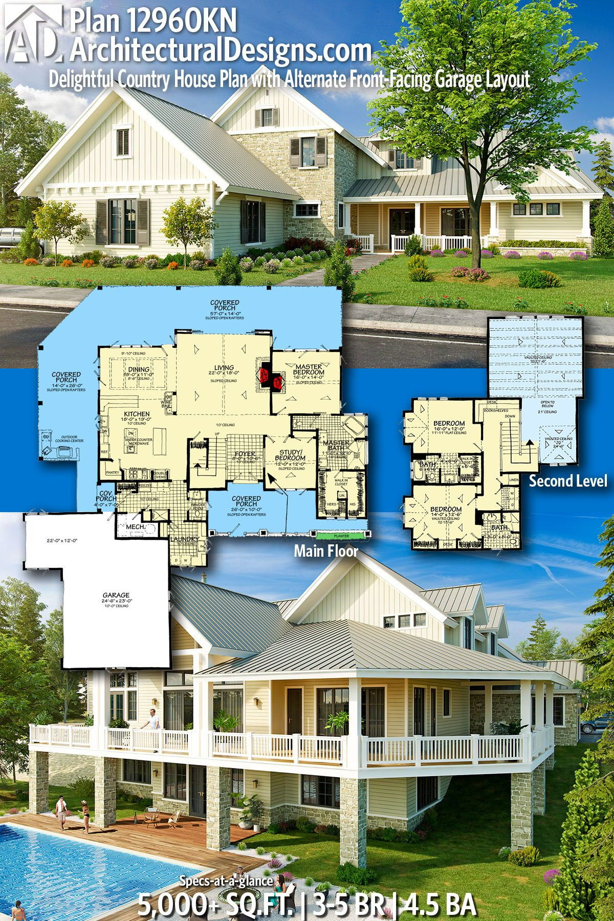 Architectural Designs Home Plan 12960KN gives you 3-5 bedrooms, 4.5 baths and 5,000+ sq. ft. Ready when you are! Where do YOU want to build? #12960KN #adhouseplans #country #newamerican #architecturaldesigns #houseplans #architecture #newhome #newconstruction #newhouse #homeplans #architecture #home #homesweethome