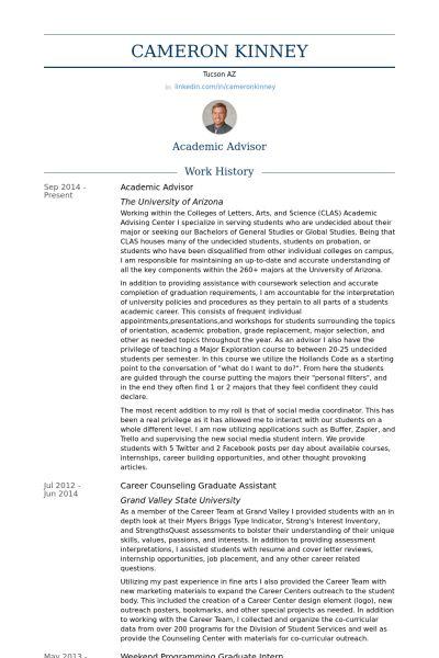 Academic Advisor Cover Letter Sample Academic Advisor Cover - beauty advisor resume