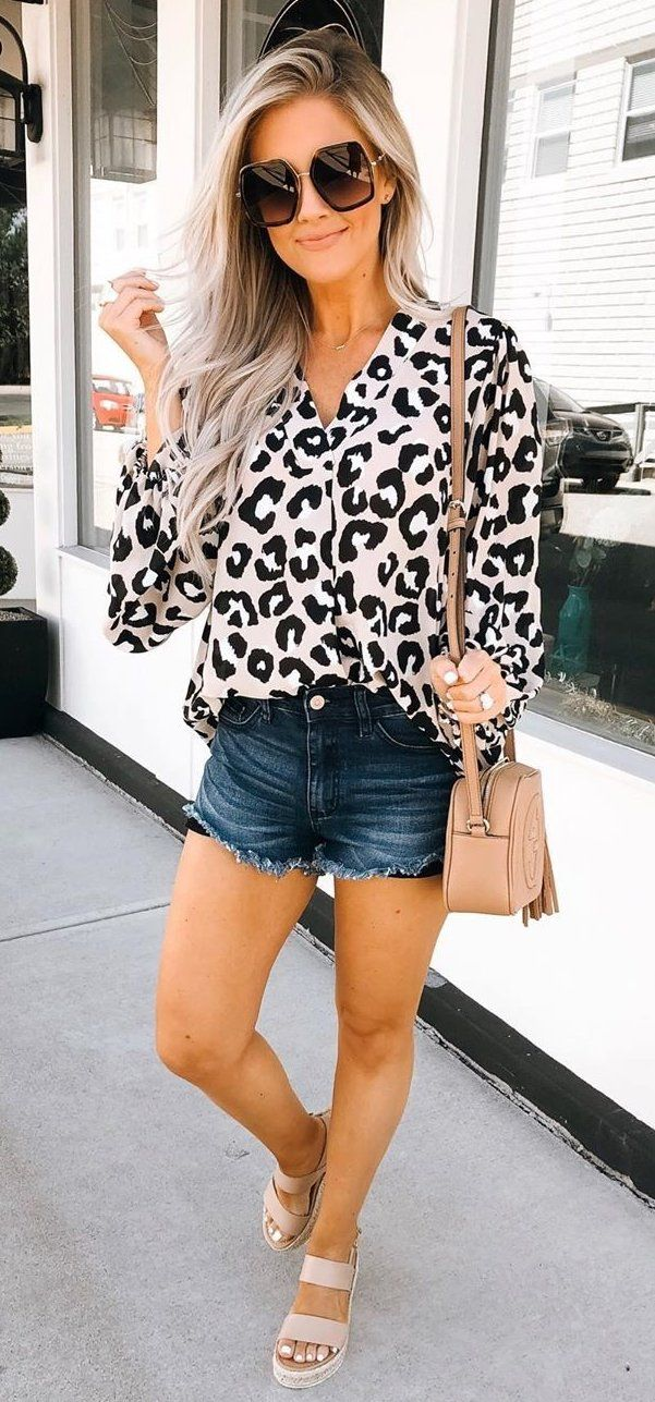 black and white leopard skin dress shirt #summer #outfits