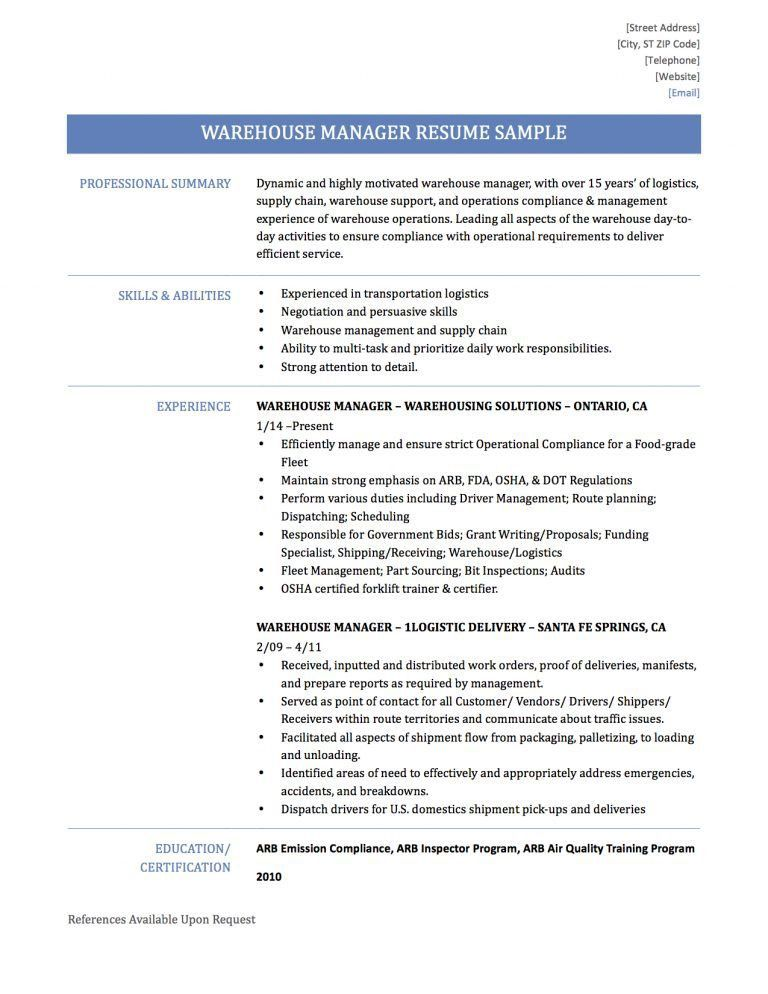 warehouse manager resume unforgettable shift manager resume