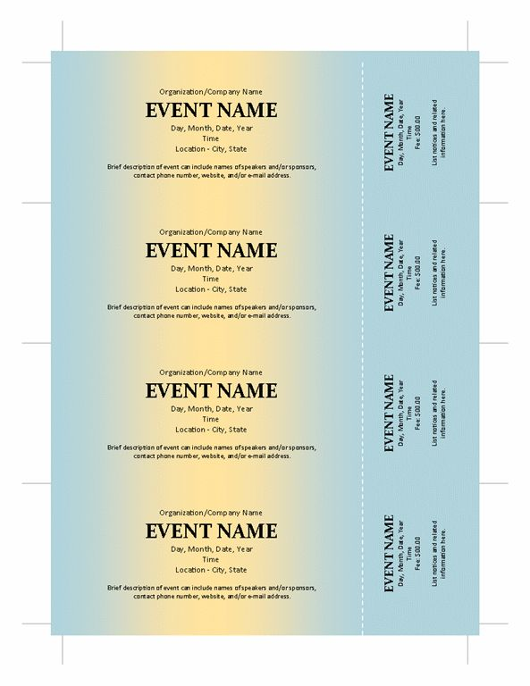 Ticket Template Publisher How To Generate Sequentially Numbered - numbered tickets template