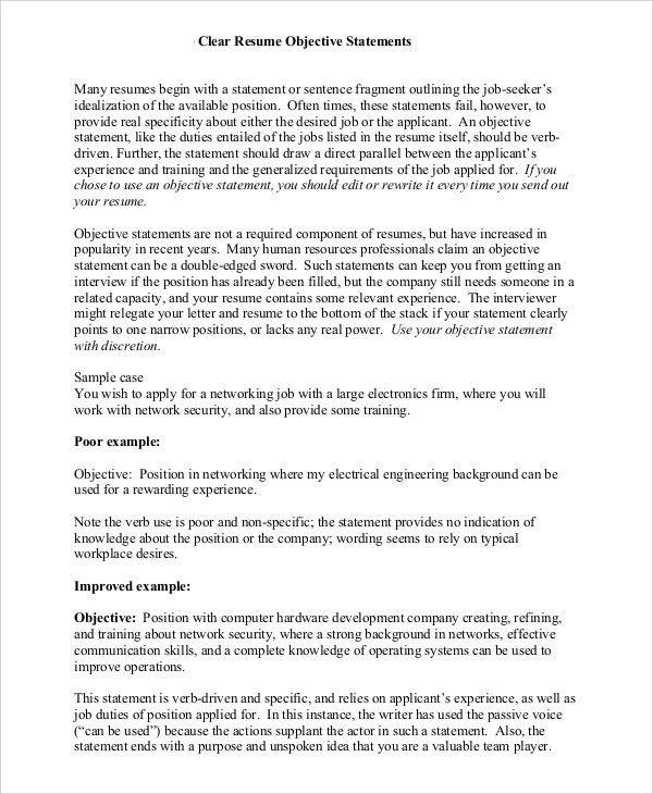 Resume Purpose Statement Examples Resume Objective Example How To - good resume objective statements