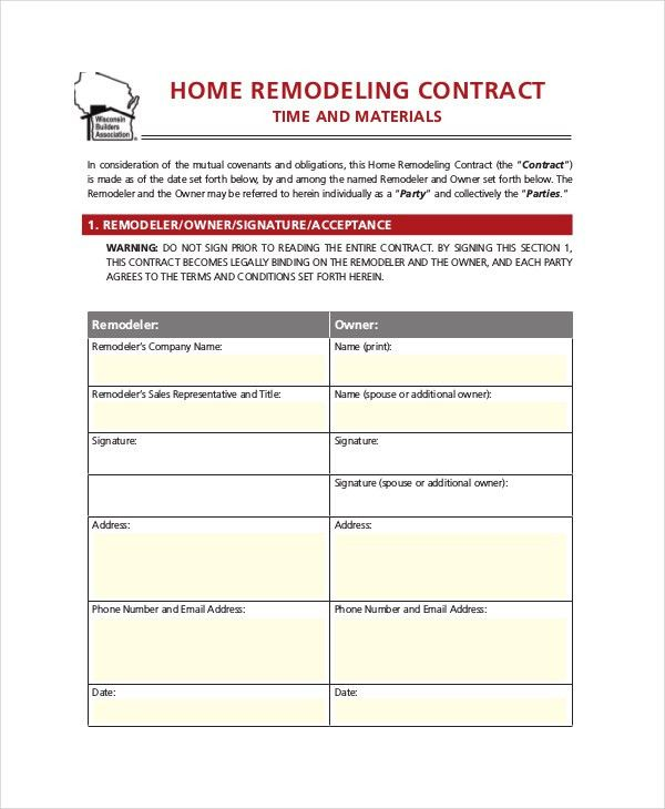 Painting Contracts Templates 32 Sample Contract Templates In - remodeling contract template