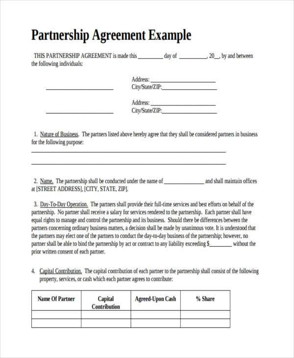 partnership contracts samples
