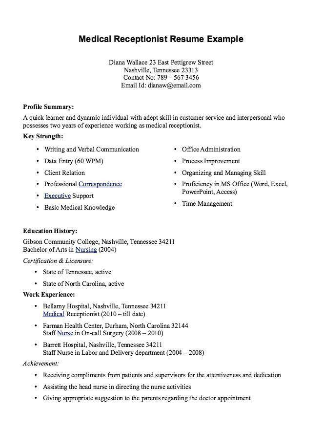 Medical Assistant Front Office Resume Desk Job Description
