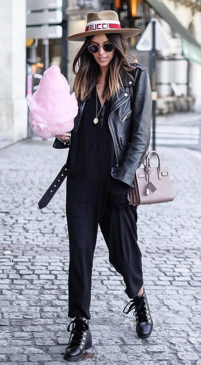 street style obsession / beoge hat moto jacket black jumpsuit boots