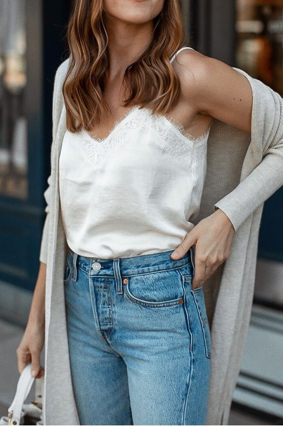 Nice white tank, blue jeans and grey cardigan