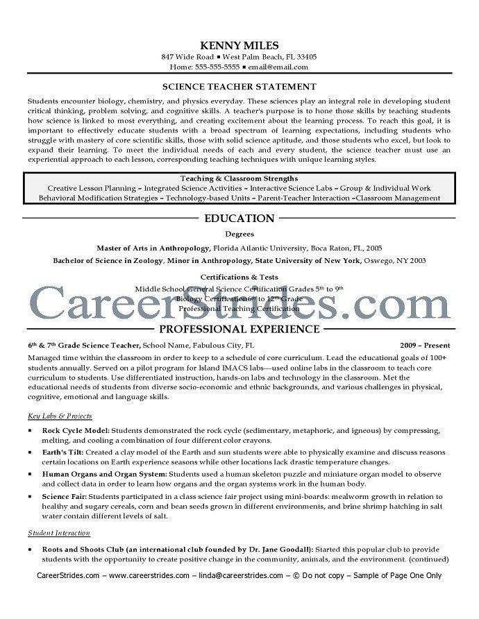 Science Teacher Resume Samples Science Teacher Resume Sample - higher education resume