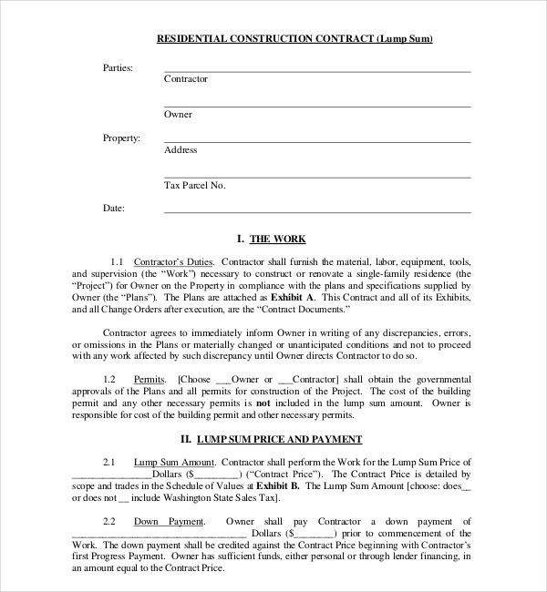 Residential Construction Contract Template 9 Sample Construction - free sample construction contract