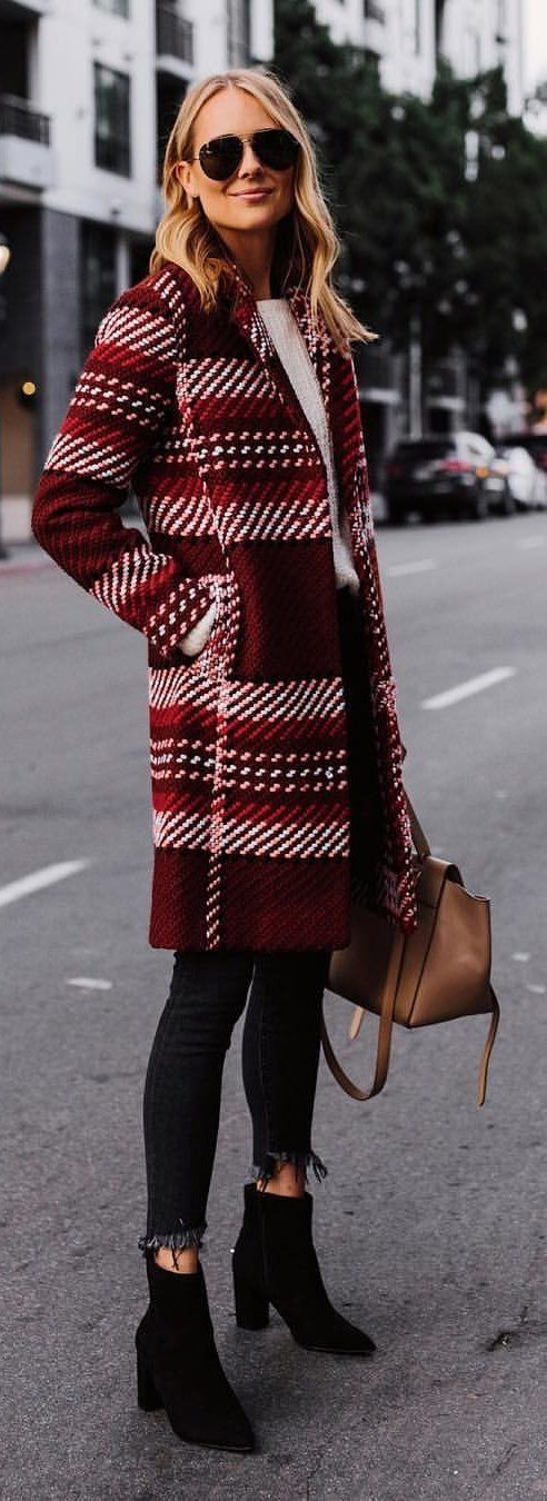 red and white coat and pair of leather boots
