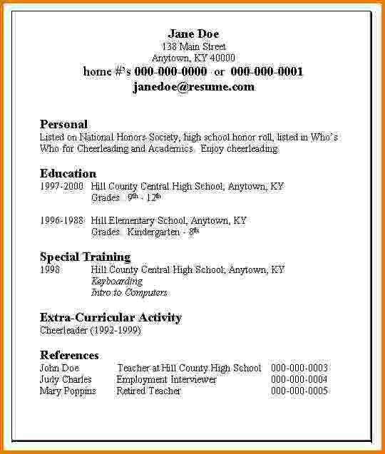 job resume layout