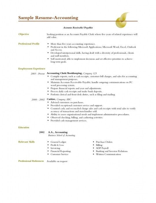 Resume Accounting Clerk Position. Download Cover Letter For