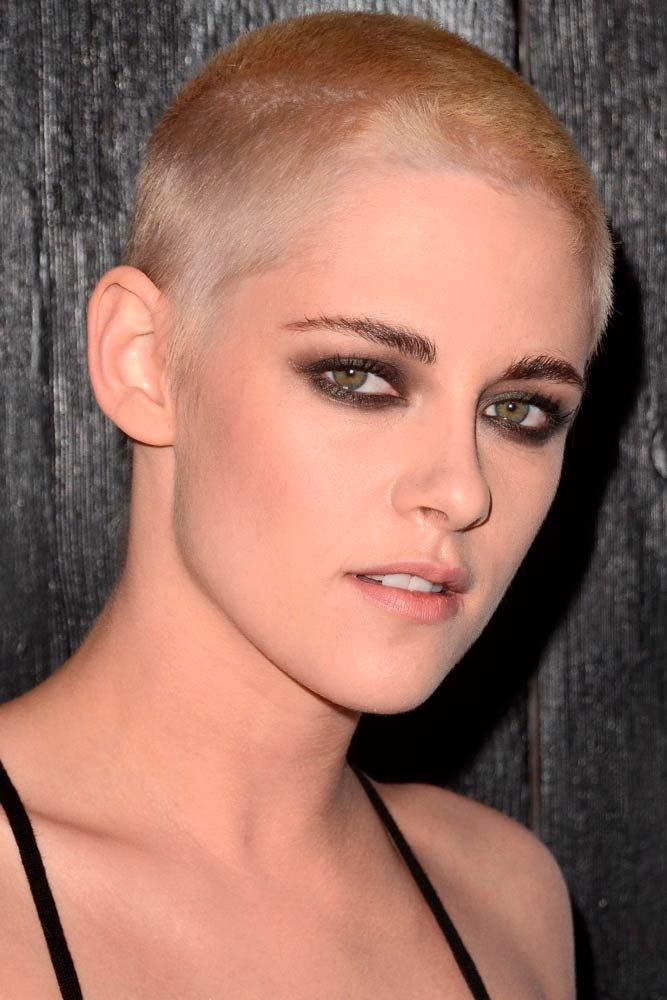 Female Short Buzz Cut #shorthair #shavedhead  #kristenstewart ★  A women buzz cut is a great way to not only upgrade your hair style to keep up with fashion but also claim your female power. So, if you're looking for some ideas, pick out from our versatile collection of the best girl buzz cuts rocked by celebrities, from a pixie hawk to a buzzed fade. #glaminati #lifestyle #buzzcut
