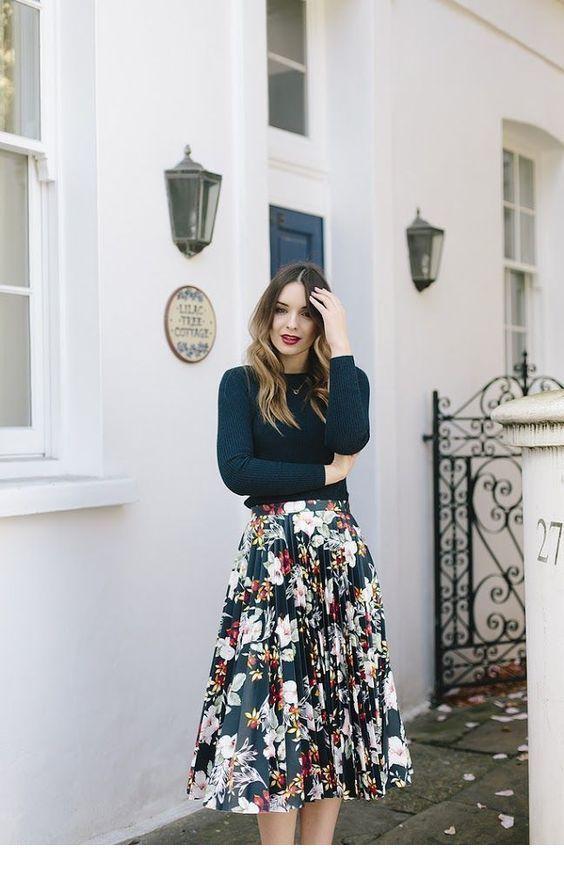Nice midi floral printed skirt design