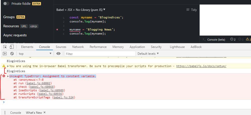 React JS Uncaught TypeError: Assignment to constant variable.