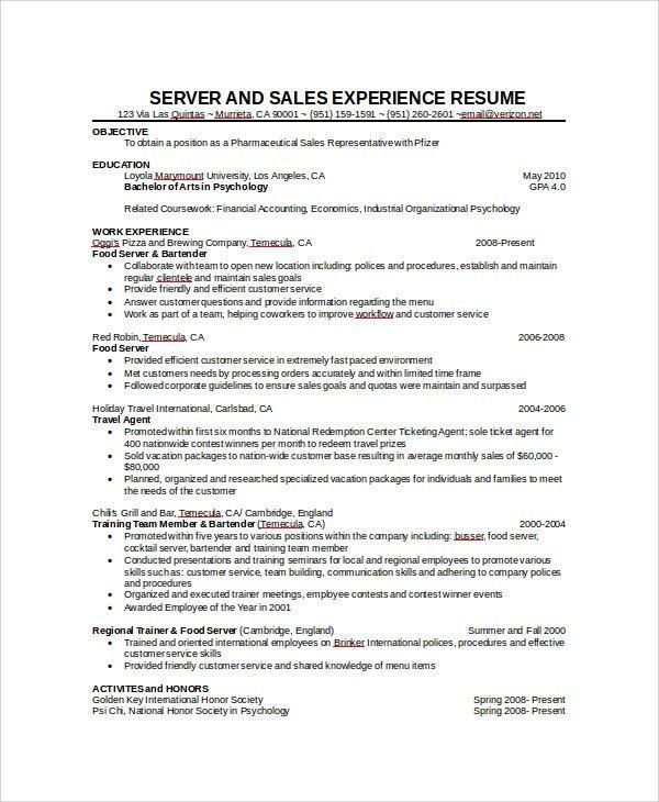 Cocktail Server Resume Sample Professional