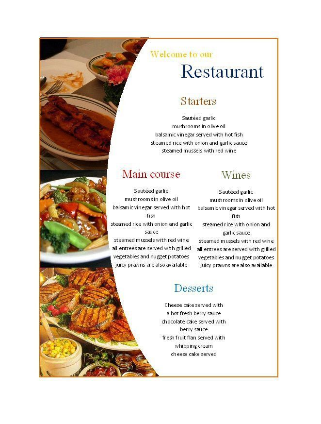Free Restaurant Menu Template Word Free Menu Template 21 Free - free restaurant menu template word