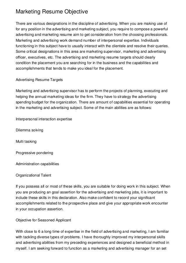 intern resume objective
