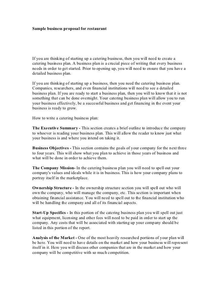 Restaurant Proposal Template Restaurant Business Proposal - sample catering proposal template