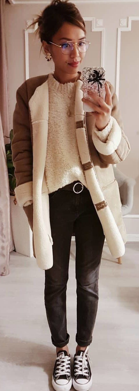 men's white and brown cardigan