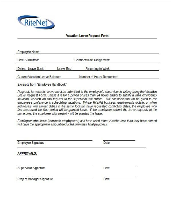 Leave Request Form Sample Sample Leave Request Form 8 Examples In - leave application form for employee