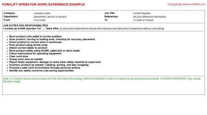 forklift operator job description forklift operator forklift operator resume examples forklift operator sample resume - Forklift Operator Job Duties