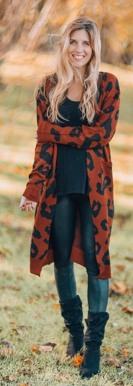 black and orange leopard print long cardigan