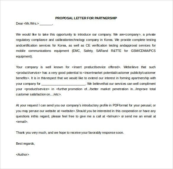 Sample Business Proposal Letter For Partnership 32 Sample - proposal letter template