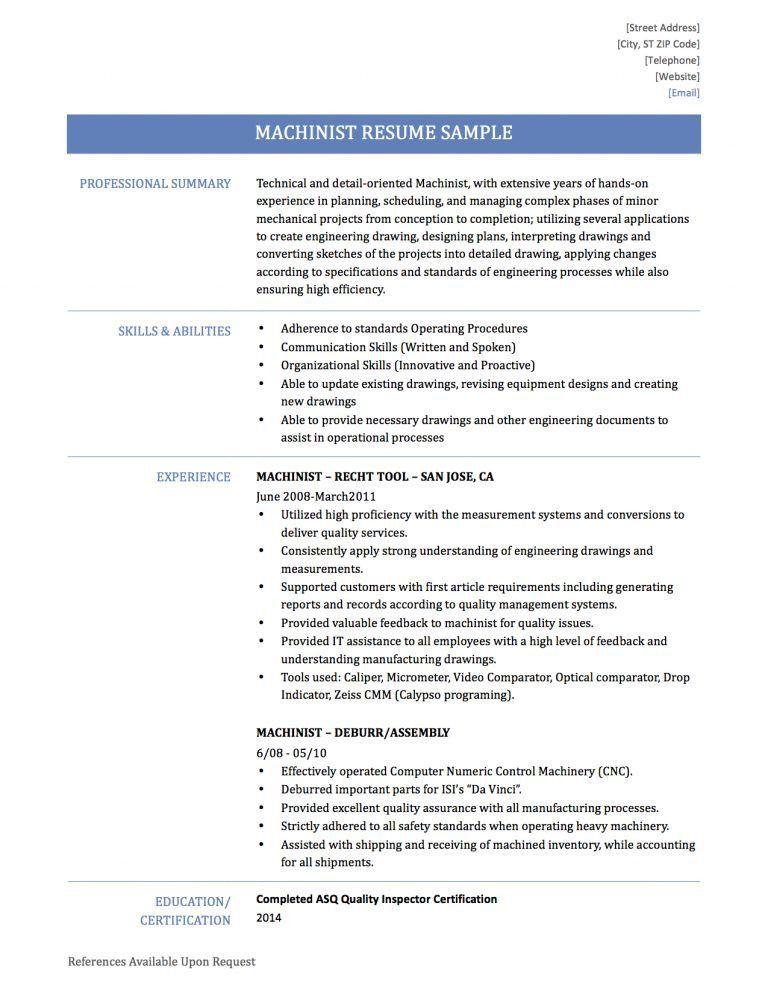 machinist resume samples