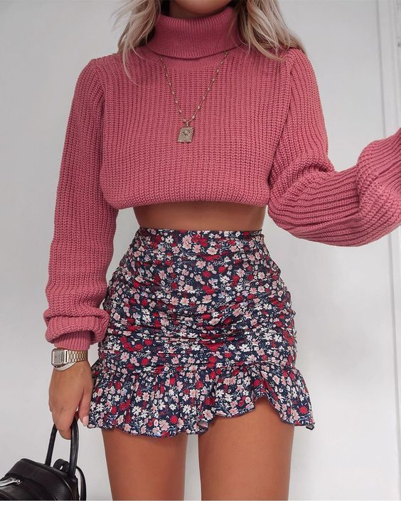 Sweet pink sweater and printed skirt