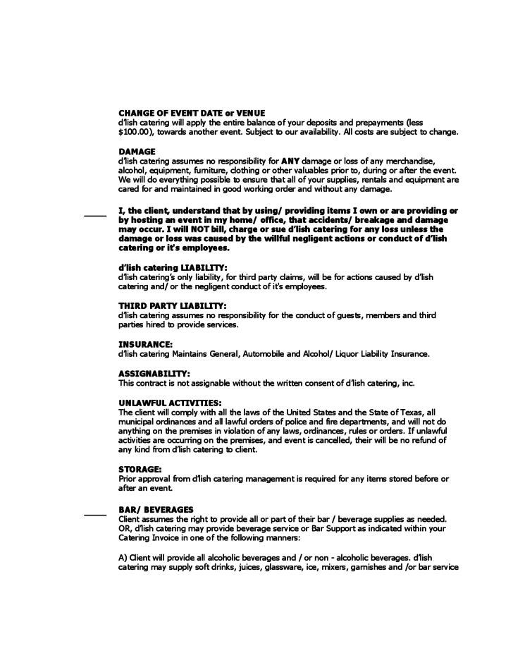 Catering contract template 9 download free documents in word pdf - catering contract template