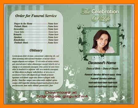 Free Obituary Program Template Free Funeral Program Template - funeral program template microsoft